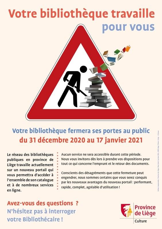 affiche fermeture bibliotheque   web