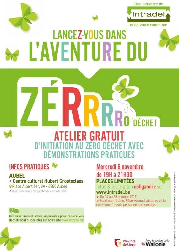 affiche Atelier zerrrro dechet A4 aubel BD