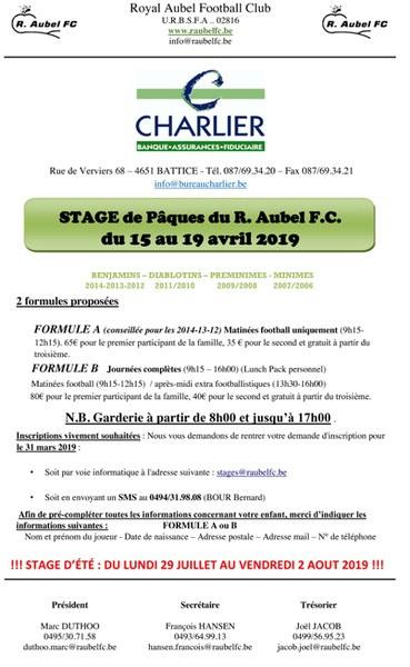 Stage de Pâques foot 2019
