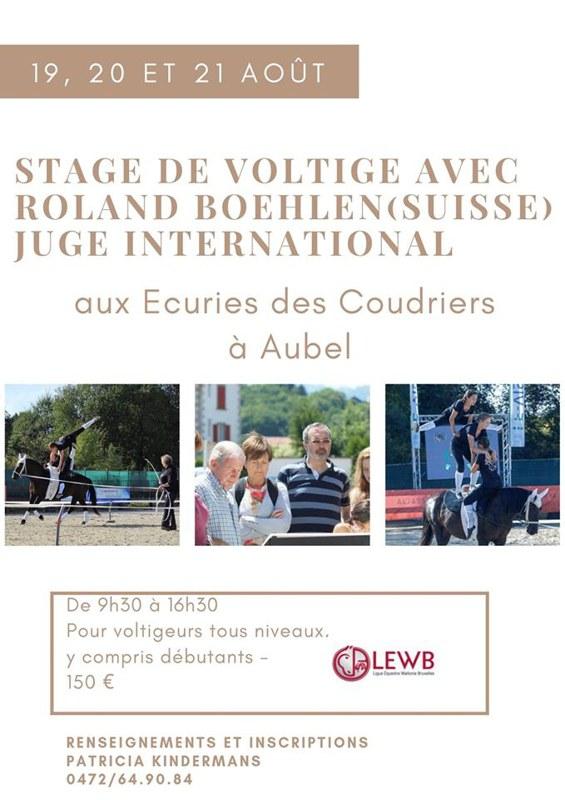 Stage Voltige Roland Boehlen du 19 au 21 août